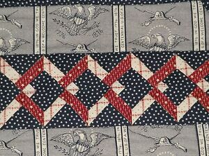 Handmade PATRIOTIC Quilted TABLE RUNNER American Eagle RED BLUE Handcrafted