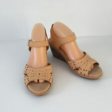 'NATURALIZER' AS NEW SIZE '8.5W' (39.5) TAN LEATHER PEEP TOE WEDGE HEEL SHOE