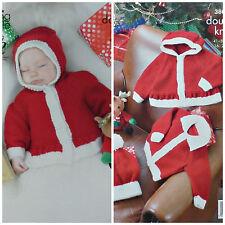 Navidad Tejer patrón Bebé Navidad Chaqueta Con Capucha Chaqueta Y Sombrero DK kingcole 3803