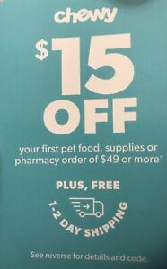 CHEWY: $15 Off your First Order Pet Food / Supplies - Coupon Card {9/30/21}