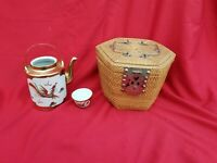 Antique Chinese Dragon Rooster Teapot Set Wicker travel Basket incomplete