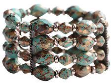Vintage Retro Bonhomie Style Beaded Green Stone Bracelet Bangle Cuff Jewelry