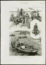 1889 Antique Print - HOLLAND LOW COUNTRY MILK MAID MARKET BOATS PIER (248)