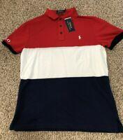 Ralph Lauren Men's SZ XL Red Navy Color block Custom Slim Fit S/S Polo Shirt