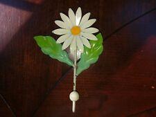 Toleware Daisy Flower Wall Hook Italy Metal Enamel Yellow White Vtg Italian Tole