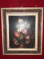 quadro classico dipinto vaso con fiori su tela cornice in legno misura 43,5 x 37