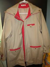 Rain Shedder Jacket 1980's Tan Red Outwear Light 12 14 VTG Read Measurements