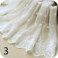 Embroidery Floral Lace Fabric Mesh Wedding Bridal Dress White Craft 1 Yard Fairy