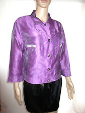 Womens Vtg Design Italy Silk Beads Custom Shiny Occasion Casual Jacket sz M AH57