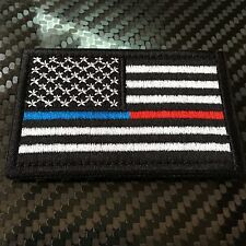 EMBROIDERED US FLAG THIN RED BLUE LINE UNITED STATES MORALE PATCH VELCRO®  USA