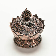 Red Copper Collectable Tibetan Lotus Figure Alloy Incense Burner Censer