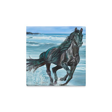 Custom Black Horse Running Beach Canvas Print 12x12 Inch Wall Gallery Art Print