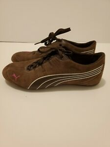 PUMA Womens 9.5 Suede Leather Sneaker Shoes brown. Good Condition Pre-owned