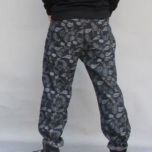 Men Loose Denim Pant Paisley Pattern Trousers Jean Drawstring Bottom Hip Hop