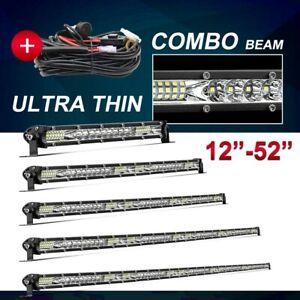 "Slim 12/22/32/42/52"" Led Light Bar Spot Flood Combo Driving UTE SUV Offroad ATV"