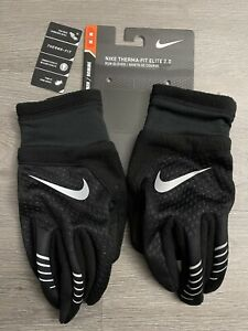 Men's Nike Therma Fit Elite 2.0 Running Run Glove Black / Silver Sz M NRGG5003