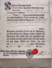 Berlin 1735  Urlaubs Paß aus der Zeit der stehenden Heere im 18. Jahrhundert RP