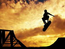 113278 SILHOUETTE SKATEBOARDER SUNSET Decor LAMINATED POSTER FR