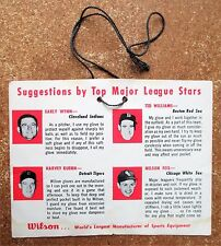1956 Wilson Glove tag Ted Williams Nellie Fox  Early Wynn Kuenn Indians Tigers
