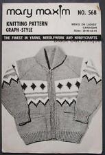 Mary Maxim 568 Knitting Pattern Mens Or Ladies Cardigan Sweater Sz 38 40 42 44