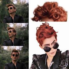 Crowley Wig Demon Cosplay Costume Prop Brown Curly Hair Good Omens Halloween New