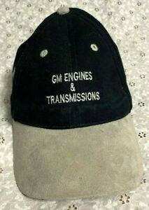 """""""GM PARTS"""" BALL CAP hat w/SUEDE LEATHER GENERAL MOTORS """"ENGINES & TRANSMISSIONS"""""""