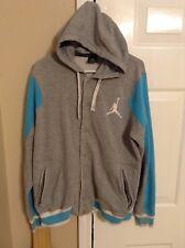 Mens Air Jordan Grey/Blue Retro Button Down Hooded Jacket Size Large