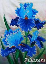 """Stickpackung mit Perlen Stickset Stickbild Stickvorlage """"Blaue Iris"""" 01"""
