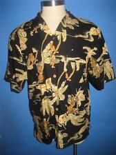 Caribbean Joe Black Floral Rayon Hawaiian Camp Shirt XL NWOT