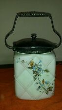 WAVE CREST GLASS  Cracker or Biscuit Jar w/ Lid w Flower  opal Store Closing