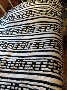 "Vintage Black & White Crochet Music Score Afghan Blanket Throw 64'x74"" Unique"