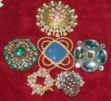 6 Green Blue Brooch Wedding Bridal Bouquet Pin Jewelry Wear Craft Vintage LOT