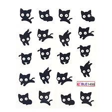 Nail Art Water Decals Transfers Sticker Mini Black Cat Pattern #BLE1498