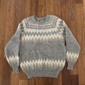 Hilda Ltd Mens 100% Wool Sweater Large Vintage Pullover Gray Made In Iceland Vtg