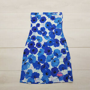 SUPER DRY Strapless Mini Dress Size S Blue Floral Sleeveless Summer Holiday
