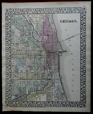 Chicago Illinois City Plan Lake Michigan Chicago River 1873 Mitchell city plan