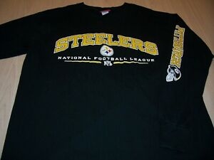 NFL PITTSBURGH STEELERS LS BLACK T-SHIRT MENS LARGE EXCELLENT CONDITION