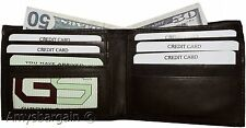 men's bifold genuine leather wallet, 6 cards, 1 id, 2 billfold brown new wallet