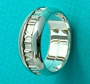 Tiffany & Co Silver Atlas Roman Numerals Wide Band Ring Size T UK or 9.5 US