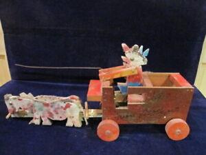 Ivan Laycock Folk Art Outsider MI Mixed Media Signed Man on Wagon w/ Horses D4f