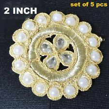 """New listing 5 Pieces ~ 2""""x2"""" Tall Applique ~ Gold Bullion Designer Sewing ~ 12 Choices"""