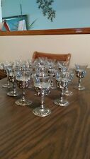 Vintage cordial glasses w/ silver plated, grapes/leaves stems. Sixteen (16)