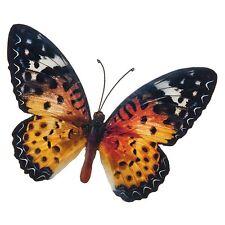 Stunning Metal Wall Art Decor Garden or Home Orange Colourful Butterfly 31x35cm