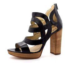 Poi Lei Sienna EU 41 UK 8 Black Smooth Leather High Block Heel Platform Sandals