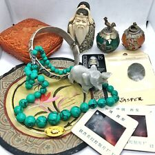 Old Antique Vintage Chinese Junk Drawer Lot Asian Collectibles Jewelry Jade Ball