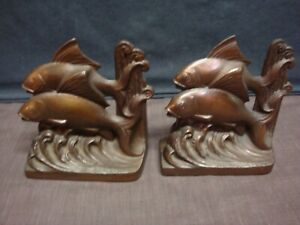 Cast Iron Leaping Double Fish Bookends
