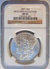 1897 Silver Morgan Dollar NGC MS 63 McClaren Collection Hoard Pedigree Coin