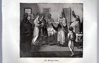 IL MATRIMONIO RUSSO XILOGRAFIA PRIMA META' '800 (1835 ?)  TRATTA DA LA MOSAIQUE