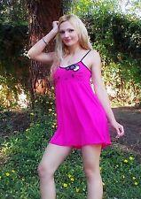 NWT Sanrio Hello Kitty KITTY Face Lounge Babydoll Dress<M, Hot Pink
