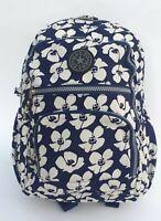 New Strong Lightweight Zipped Floral Patterned Rucksack/Handbag Blue Red